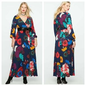 Navy Floral Printed Maxi Dress